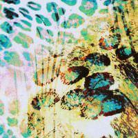 Viskosejersey mit Leopardenmuster - weiss/türkis/orange/gelb/schwarz