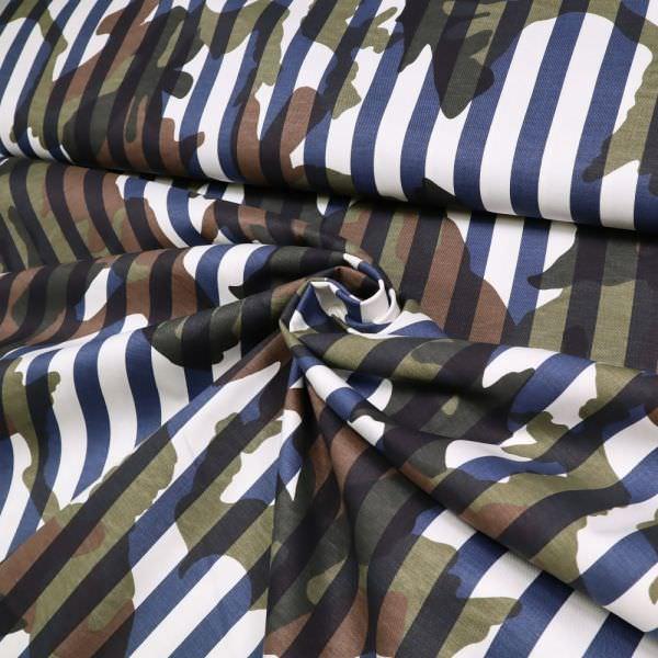 """Stretch Baumwollstoff """"Camouflage&Streifen"""" - wollweiss/dunkelblau/braun/khaki/dunkelgrün (2.Wahl)"""