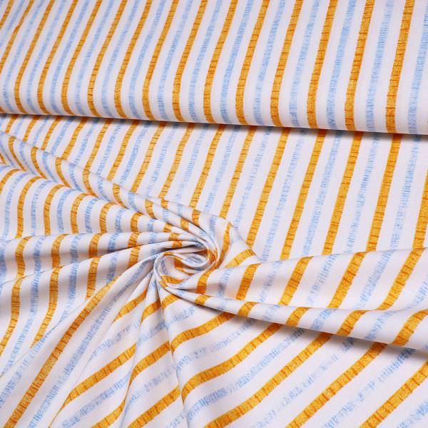 Baumwollstoff mit Streifen - weiss/orange/hellblau