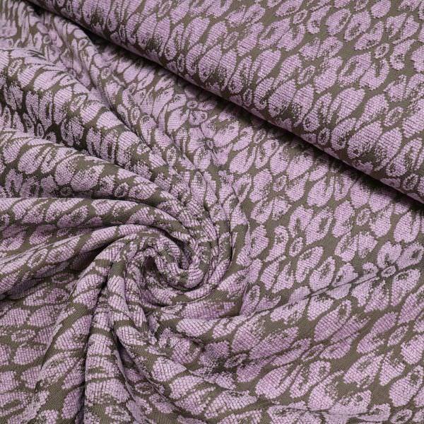 Chenille- Jackenstoff mit Blumen - taupe/flieder