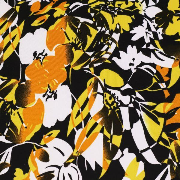 Slinky-Jersey mit Blumen-Motiv - weiss/gelb/orange/schwarz