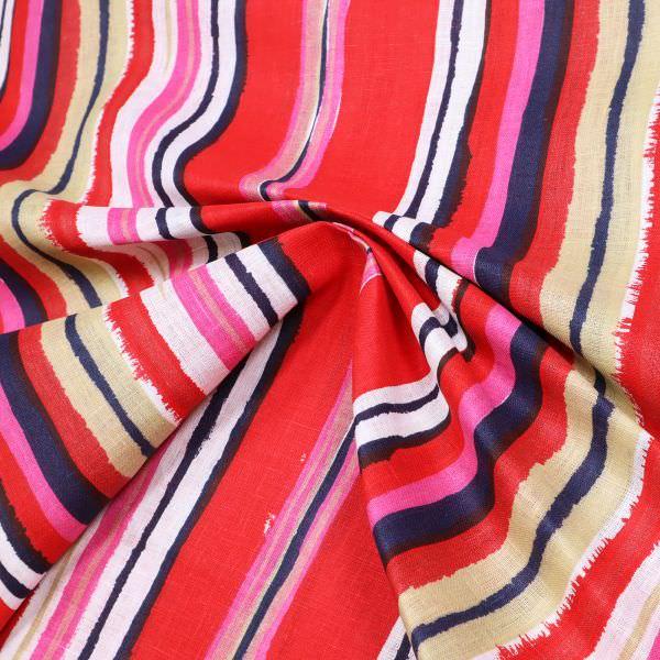 Leinenstoff Pinsel Streifen - weiss/rot/fuchsia/beige/nachtblau (2.Wahl)