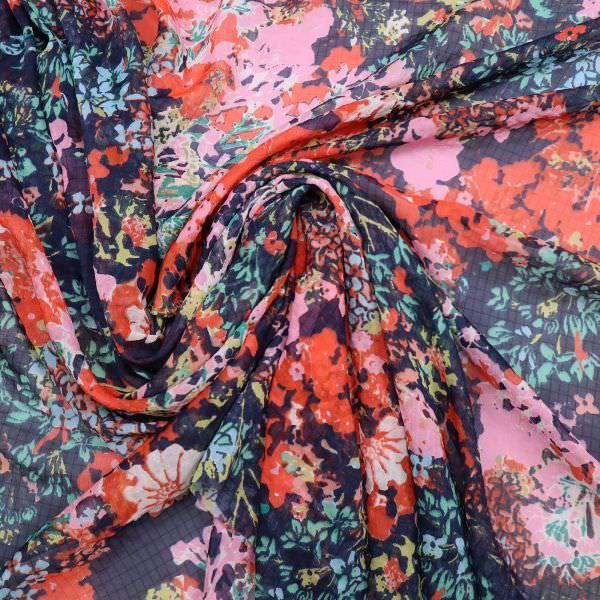 Chiffon mit Blumen & Karo - dunkelblau/rot/rosé/türkis