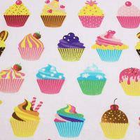 Dekostoff Baumwollstoff süße Cupcakes - weiss/rosé/fuchsia/gelb Öko-Tex Standard 100