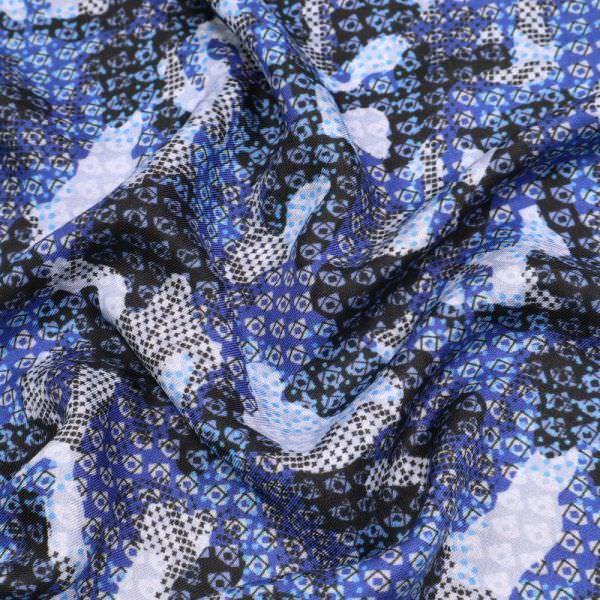 Viskosestoff Retro - blau/dunkelblau/weiss/schwarz (Reststück 7,3m)