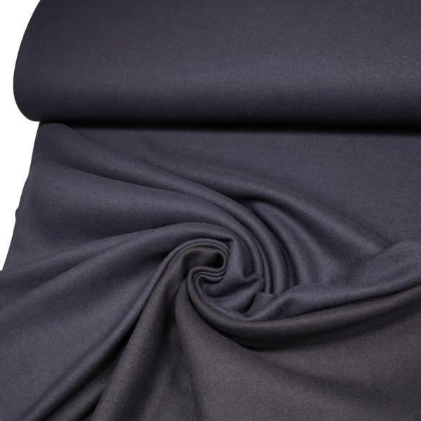 Doubleface Feinstrick Wollmischgewebe uni - nachtblau/schwarz