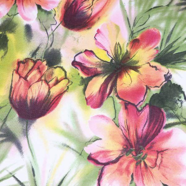Baumwoll- Twill große Blumen - weiss/himbeere/rosé/gelb/grün/dunkelgrün