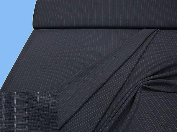 Hosen- und Kostümstoff meliert - schwarz/nachtblau/wollweiss