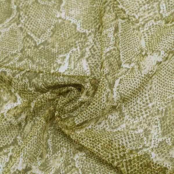 Weichtüll (Mesh) mit Schlangenmuster - olivgrün/schilfgrün/wollweiss