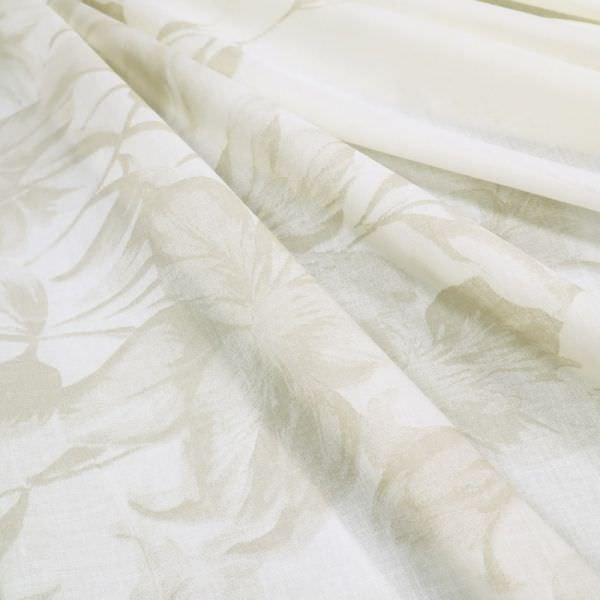 Baumwoll- Voile Blumen - wollweiss/beige