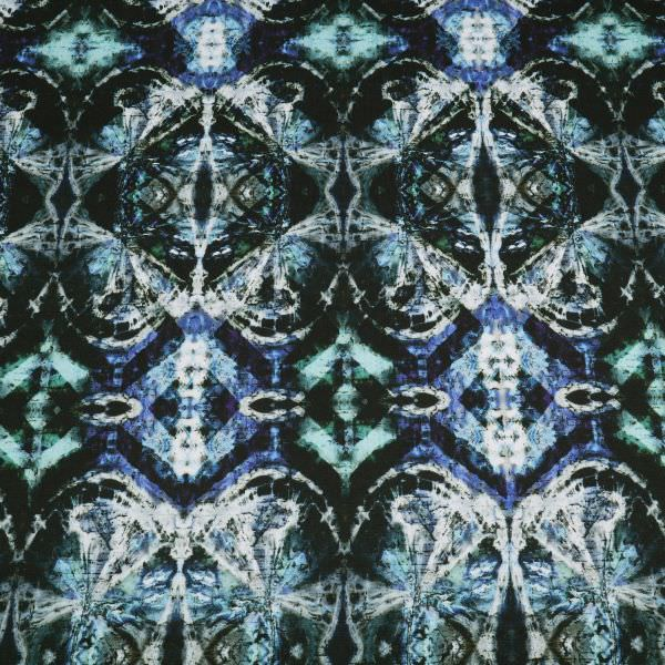 Power-Stretch Jersey Kaleidoscope-Muster - schwarz/dunkelblau/dunkelgrün/türkis