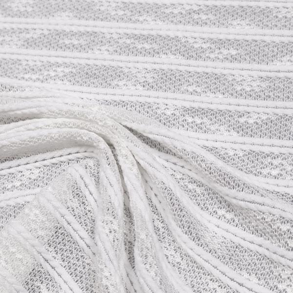 Feinstrick Zopfmuster Querstreifen uni - wollweiss