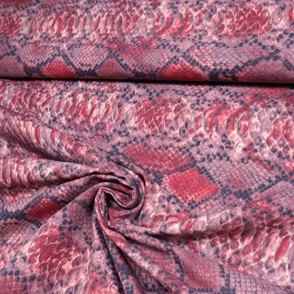 Stretch Baumwollstoff mit Schlangenmuster - altrosa/rot/grau/schwarz