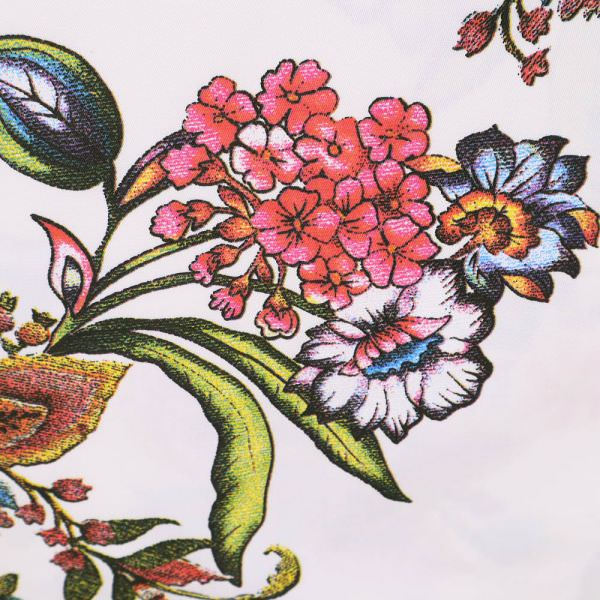 Stretch Baumwoll- Twill mit Blumen-Motiv - wollweiss/gelb/himbeere/grün/blau/schwarz