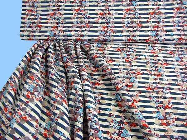 Blusen und Kleiderstoff mit Blumen - - blau/weiss gestreift