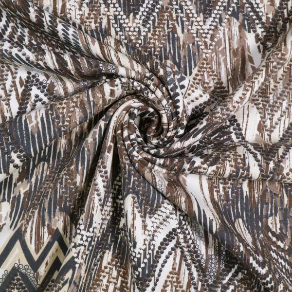 Stretch Sweatshirt Stoff mit Zickzack-Motiv - wollweiss/beige/braun/anthrazit