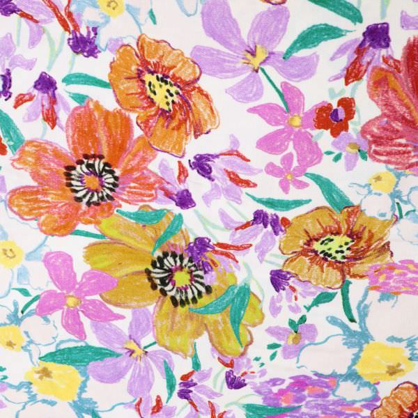 Javanaise Viskose Satin Blumenmalerei - wollweiss/flieder/rostbraun/gelb/lila