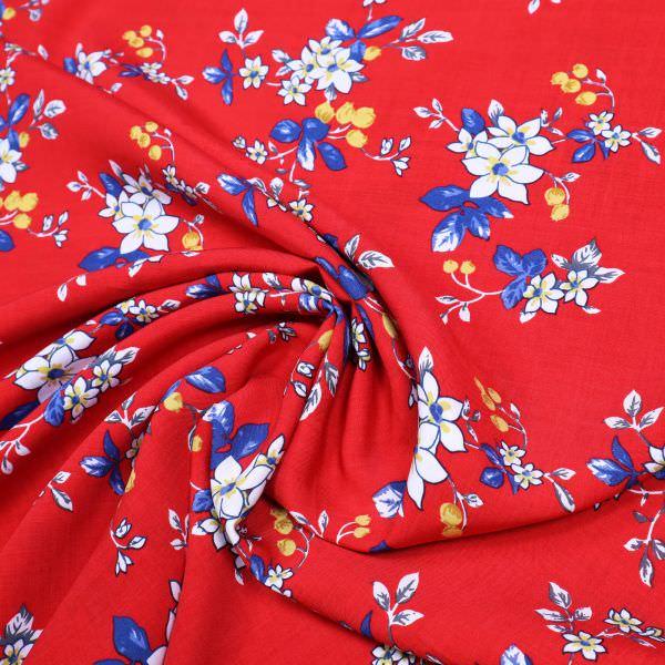Viskosestoff Frühlingsblüten - rot/weiss/gelb/blau