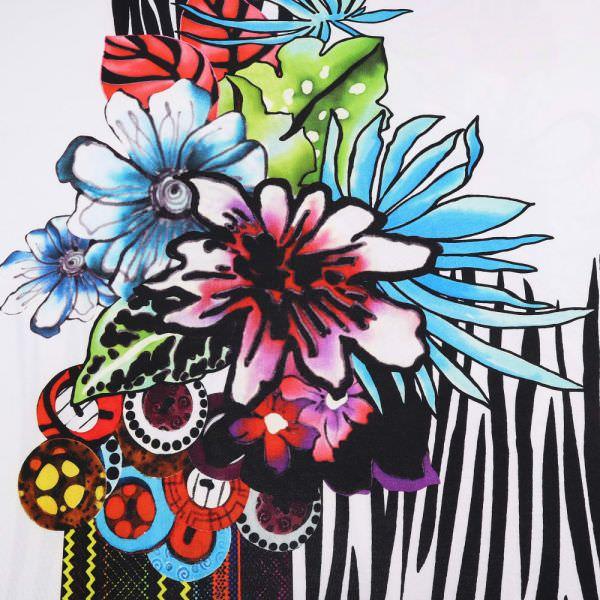 Slinky-Jersey Bunte Blumen PANEL - wollweiss/multicolor