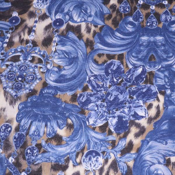 Feinstrick Juwelen & Leoparden-Motiv - blau/wollweiss/beige/braun/anthrazit
