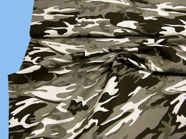 Leinenstoff Camouflage - taupe/grau/wollweiss