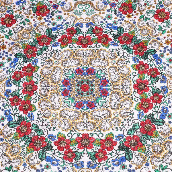Baumwollstoff Mandala Blumen - weiss/rot/blau/orange/grün