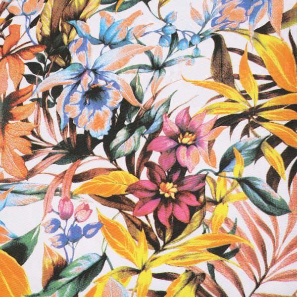 """Viskose-Baumwollstoff-Mix """"Blumen&Blätter""""- wollweiss/gelb/orange/türkis/fuchsia/grün"""