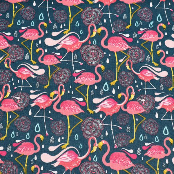Baumwollstoff Flamingo & Blumen - petrol/kotalle/rosé/fuchsia Öko-Tex Standard 100