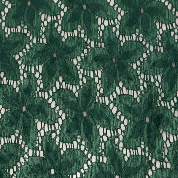 Stretch Spitze mit Blumen-Motiv - dunkelgrün