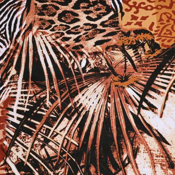 Viskosejersey African Print - weiss/apricot/rostbraun/terrakotta