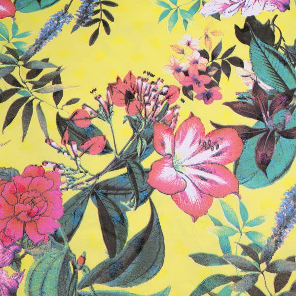 Baumwollstoff Sommerblumen - gelb/rot/fuchsia/koralle/grün