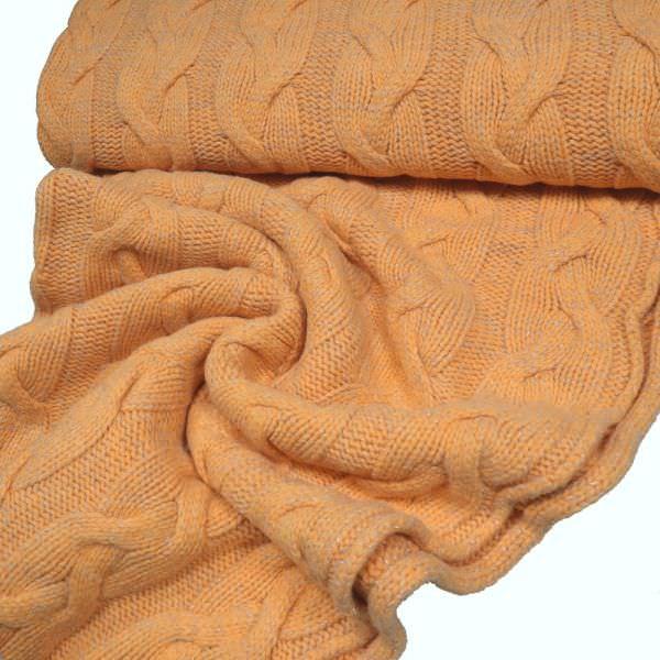 Strick Zopf-Muster & Lurex - orange/silber