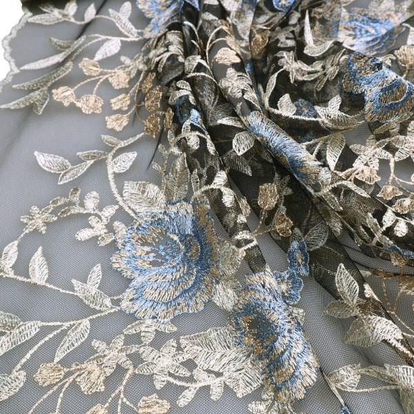 Bogen Tüll-Spitze mit Blumen-Motiv - schwarz/creme/beige/hellblau