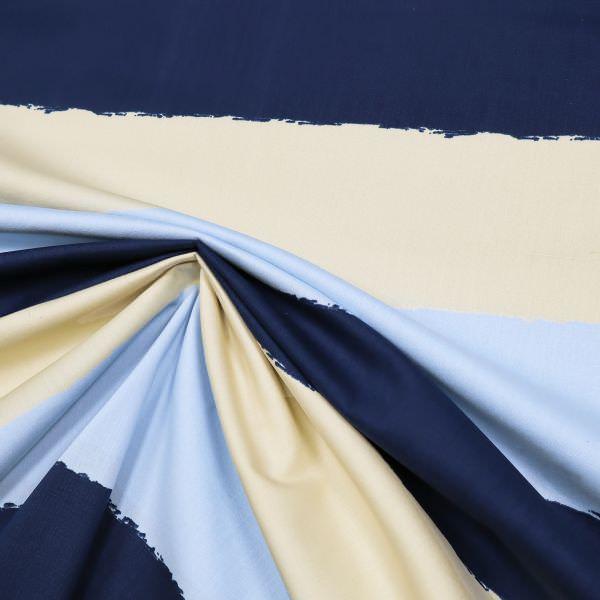 Baumwollstoff Blockstreifen - hellblau/beige/marineblau (2.Wahl)