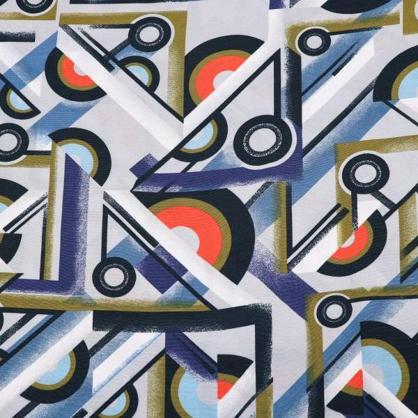 Viskose Crêpe Geometrische Muster - grau/koralle/blau/dunkelblau/khaki