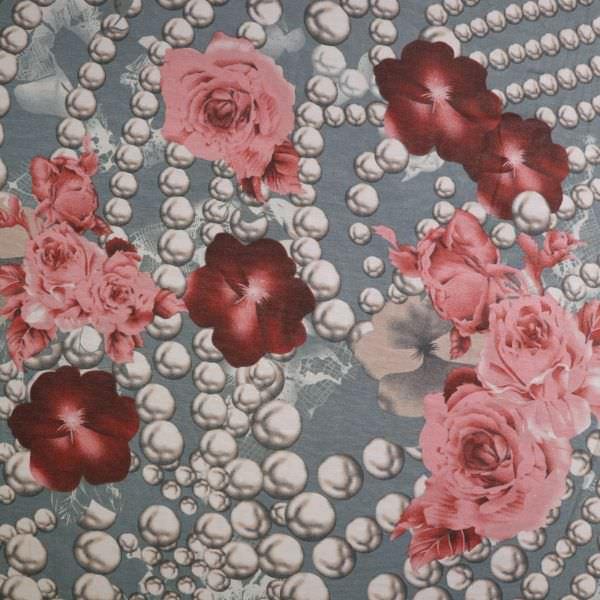 Viskosejersey mit Blumen&Perlenketten - grau/beige/altrosa/bordeaux/braun