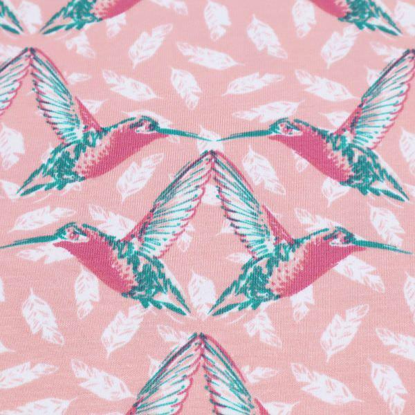 Baumwolljersey Kolibris - rosé/altrosa/weiss/grün