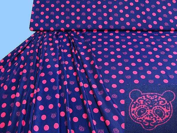 Blusen- und Kleiderstoff mit Punkten&Bären-Motiv - dunkelblau/fuchsia