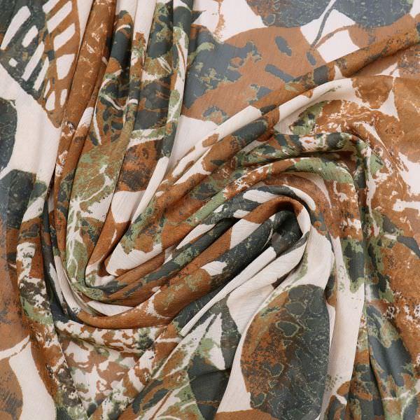 Crêpe Chiffon Blumen - beige/rostbraun/schilfgrün