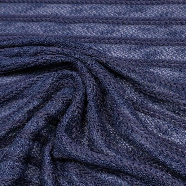 Feinstrick Zopfmuster Querstreifen uni - marineblau