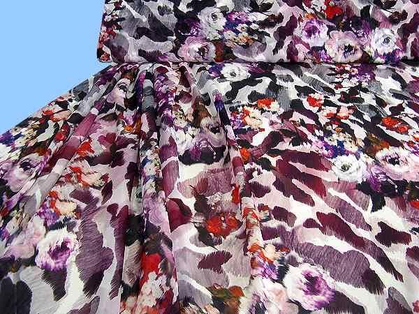 Chiffon mit Blumenmotiv - weiss/multicolor