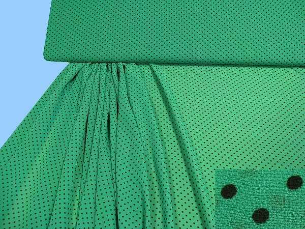 Crepé mit Punkten - grün/schwarz