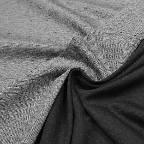 Punto Milano Power-Stretch Jersey Melange - hellgrau/schwarz