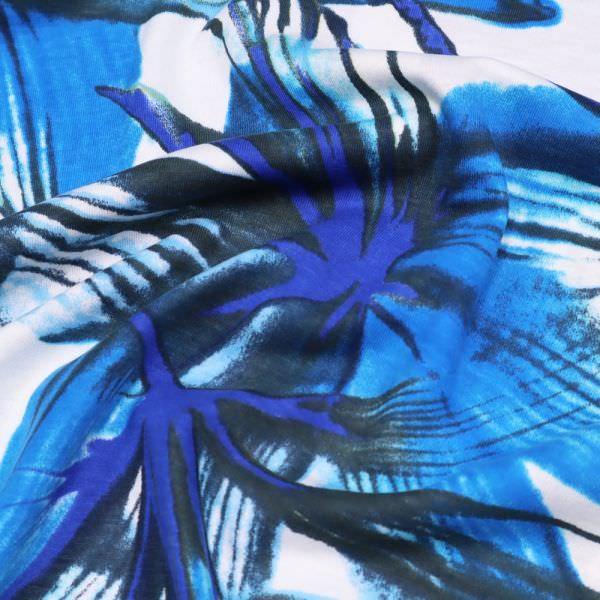Baumwoll-Modal Jersey grosse Blume - weiss/türkis/royalblau