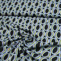 Viskosestoff Bunte Kreise - schwarz/hellblau/gelb/weiss/grau