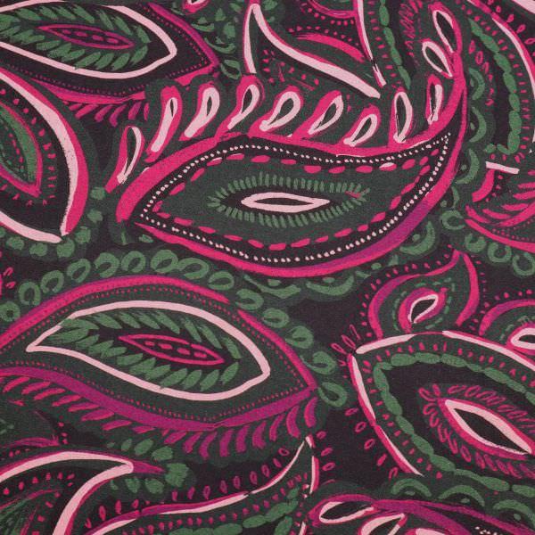 Viskosestoff Paisley - schwarz/fuchsoa/rosé/dunkelgrün