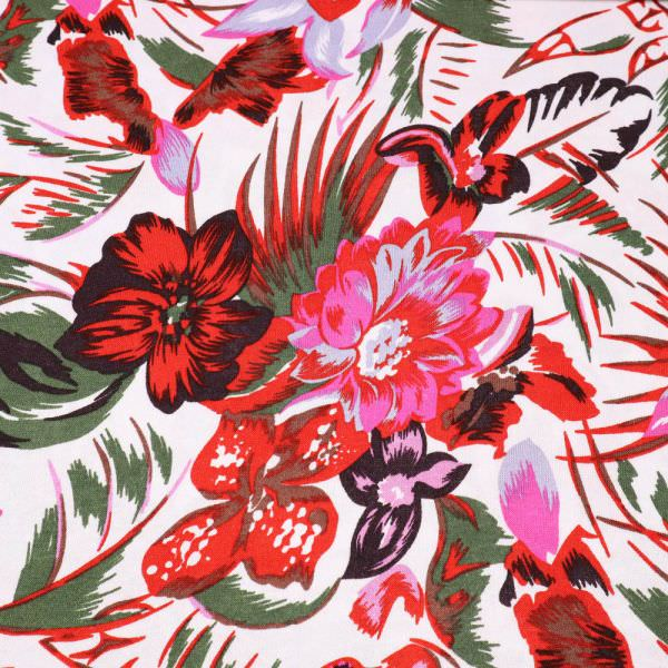 Viskose Feinstrick-Jersey Sommerblumen - weiss/rot/fuchsia/grau