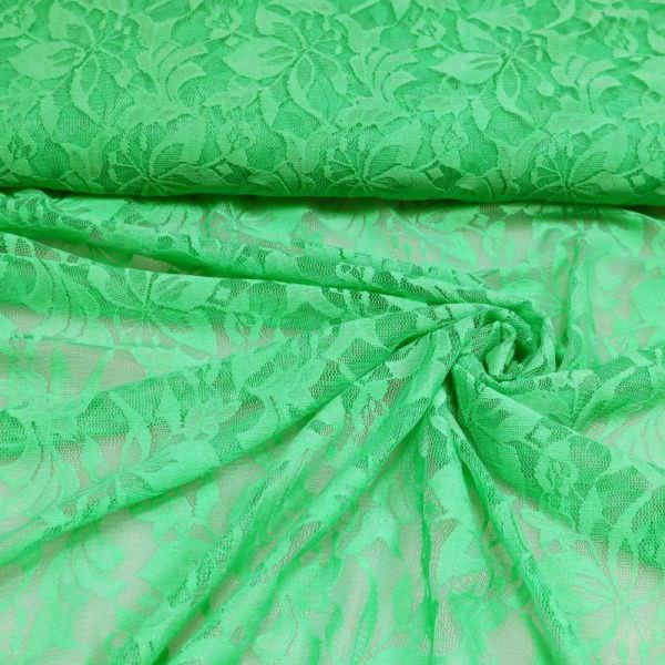 Stretch Tüll-Spitze mit Blumen-Motiv - grün