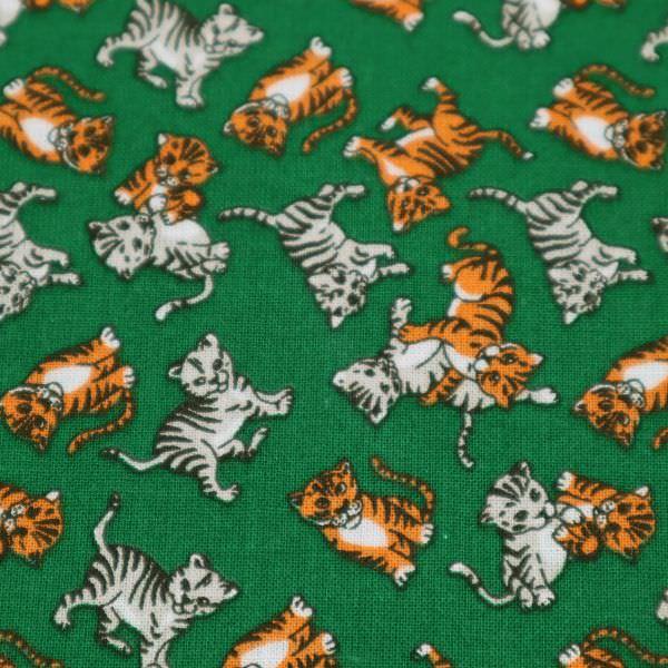 Baumwollstoff Tiger & Katze - dunkelgrün/grau/orange/weiss