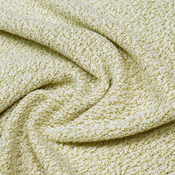 Lurex Feinstrick Melange - wollweiss/gold Extra breit !